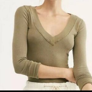 Free People Lilly Layering Top Army Birch